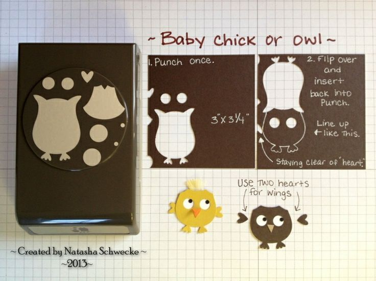 Here's a super quick tutorial explaining how I (Accidentally, actually!) came up with the baby chick (Or owl).     I basically punched out an owl, flipped it over, and inserted it back into the Owl Builder Punch and lined it up as the picture shows, and punched. Next, I adhered a scrap of Whisper White paper to the back to cover the eye holes and used the pupils from the Owl Punch. For the chick, I added a craft feather. Hope this helps! :) The baby owl would be so cute on a card with its…