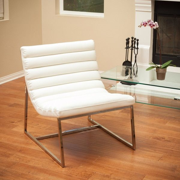 Add comfortable seating and contemporary flair with this leather accent chair from Christopher Knight Home. Covered in corrected-grain leather upholstery for a luxurious feel, this white accent chair