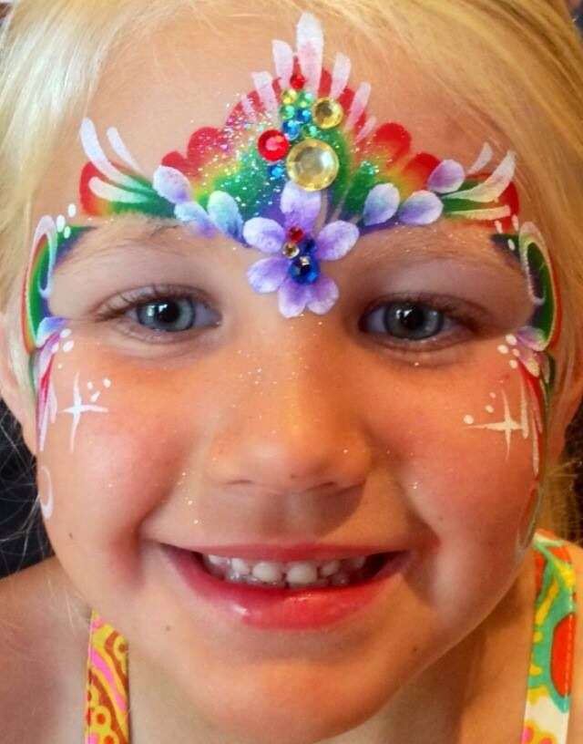 Laura Oliver || rainbow/flowe princess crown, one stroke rainbow