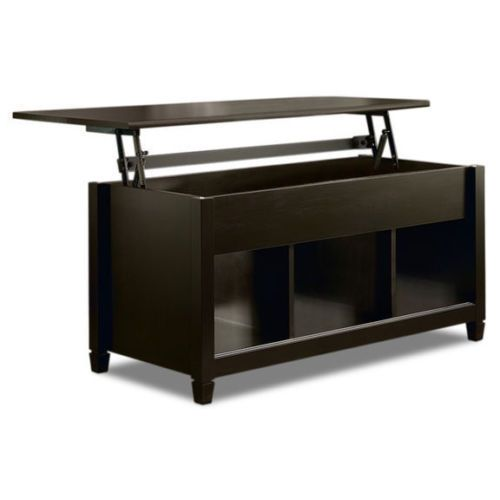 Black Coffee Table with Storage Lift Top Convertible Laptop Desk & TV Snack Tray #Sauder #Contemporary