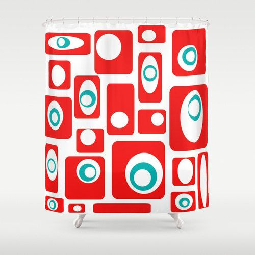 red and teal shower curtain. Red Shower Curtain Modern Retro by crashpaddesigns Best 25  shower curtains ideas on Pinterest and black