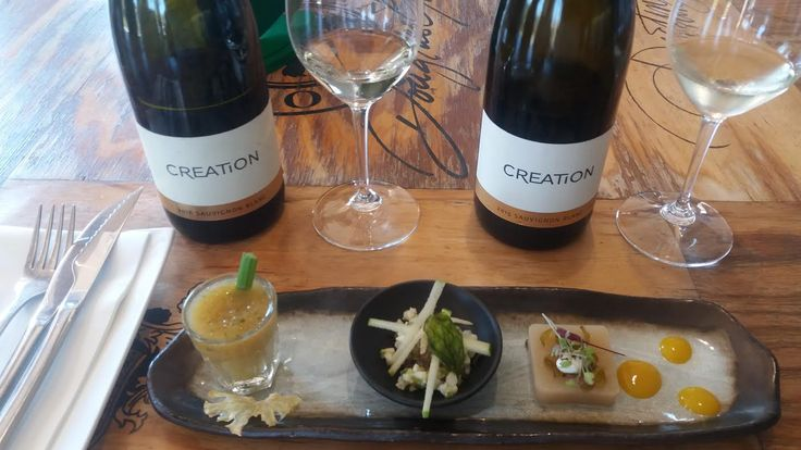 A little something for the sweet tooth - Apple compot and celery stick, calamari with apple shavings and pear jelly with micro-herbs - paired with Creation Wines Sauvignon Blanc.