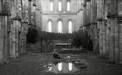 Andrei Tarkovsky_Nostalghia_1983 Final Scene in ruins of San Galgano_Tuscany