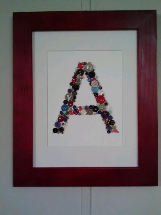 button monogram matted and framed in 11x13 frame i painted red idea from pin of