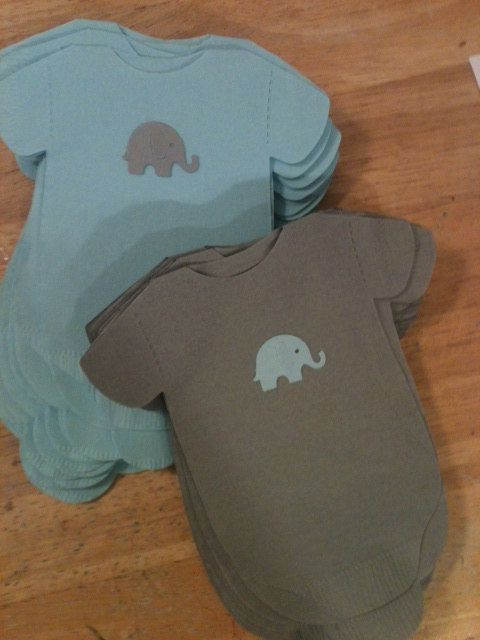 Pack of 30 Gray and Blue (or any color) Baby shower onesie napkins or banner decoration.  Each with adorable baby elephant.. $32.00, via Etsy.