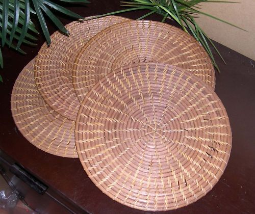 4 pcs Balinese Round Brown Rattan Woven Hard Placemat