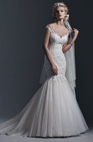 Tip of the Shoulder Mermaid Wedding Dress  with Dropped Waist in Lace. Bridal Gown Style Number:33212671