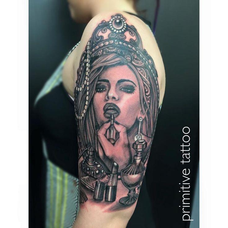 Girl in mirror by Bobbi @ Primitive Tattoo Studio Perth on 126 Barrack street Perth. (08) 9 221 8585 / 0488 828 866 tattoo@primitivetattoo.com www.primitivetattoo.com