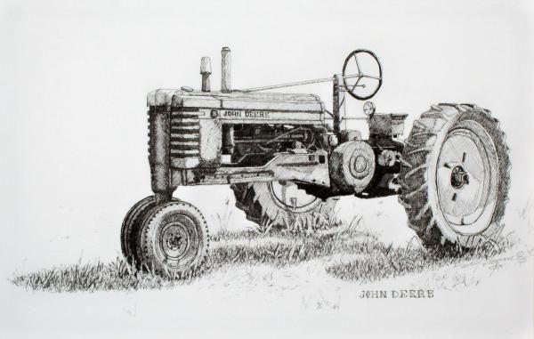 Sketch Of John Deere B Tractor Google Search Crafts In