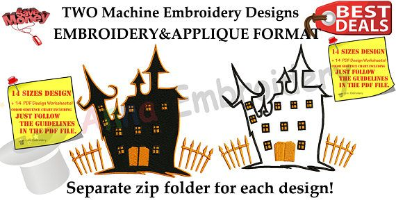 Halloween Haunted House Embroidery Applique Design-Ghost House