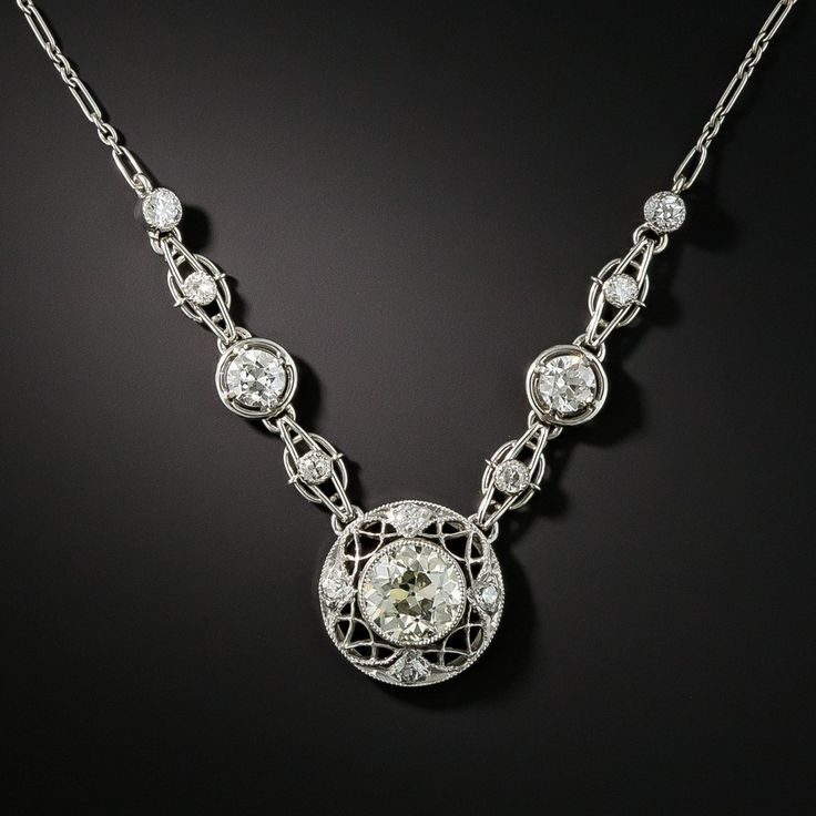 Edwardian 1.15 Carat Center Diamond Necklace