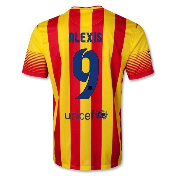 13-14 Barcelona #9 ALEXIS Away Soccer Jersey Shirt