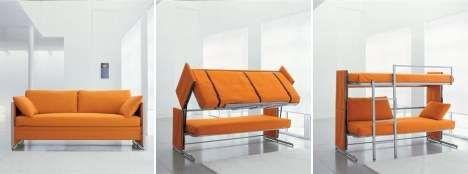 Sofa That Morphs Into Bunk Bed #smallspaceorganization #smallspacedecor trendhunter.com