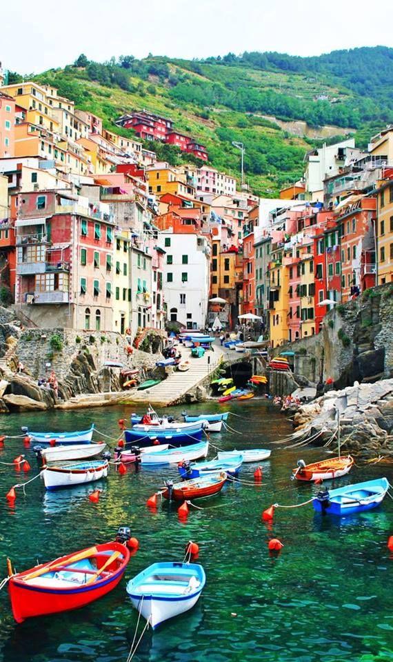 The seaside village of Riomaggiore in the Cinque Terre, Italy