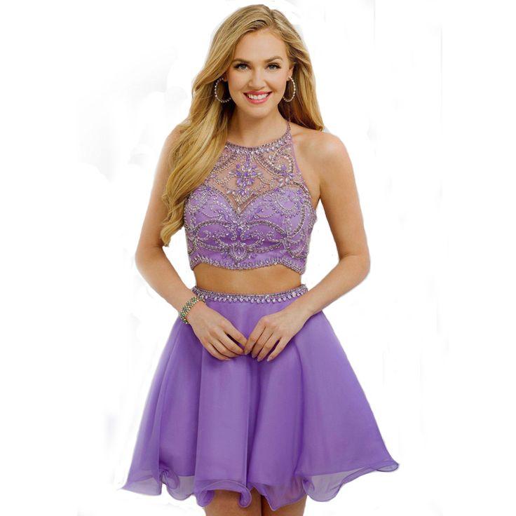 2017 Lavender Two Pieces Homecoming Dresses Mini Short Chiffon Halter Backless Party Dresses Graduation vestido de fiesta