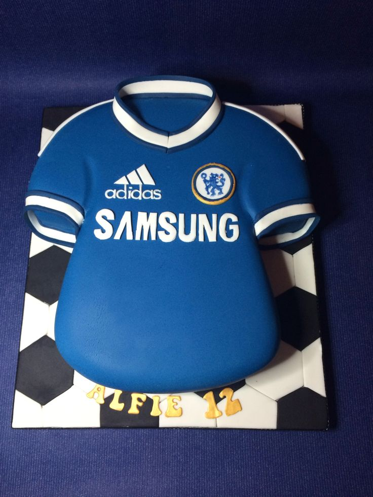 Chelsea Football shirt cake. hand sculpted and hand decorated. lettering is also all hand cut.