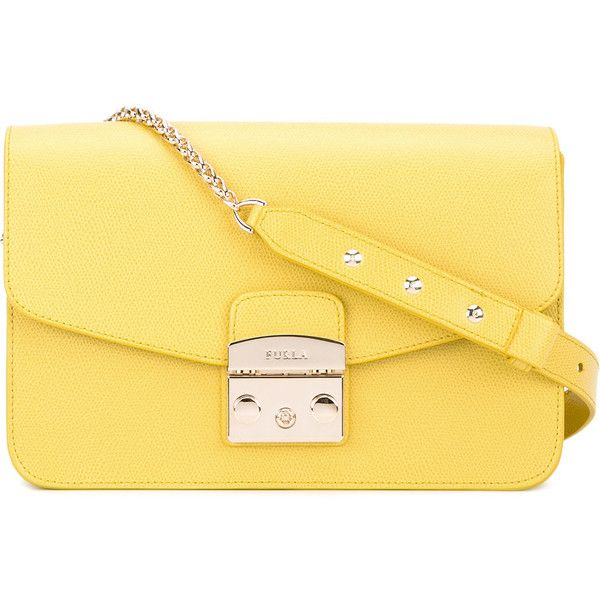 Furla Zaferano shoulder bag ($341) ❤ liked on Polyvore featuring bags, handbags, shoulder bags, yellow, leather shoulder bag, yellow leather purse, genuine leather handbags, furla purses and leather handbags