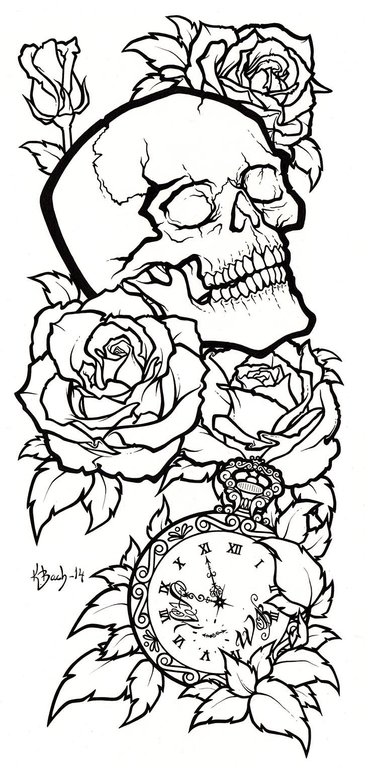 Skull Tattoo Design Lineart by BlueUndine.deviantart.com on @deviantART