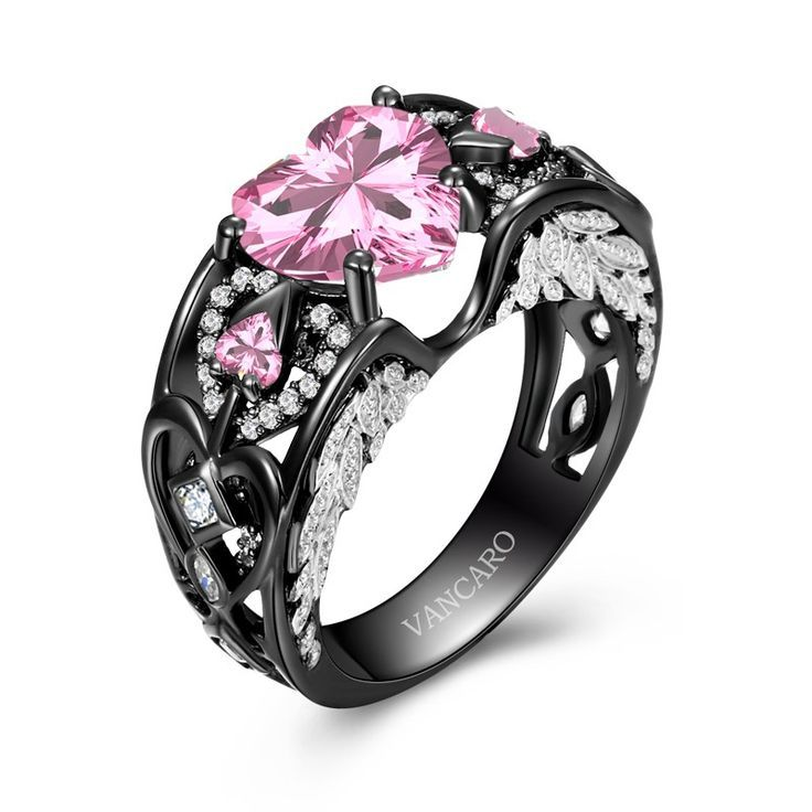 Black And Pink Wedding Rings: Angel Wing Collection Black And Pink Engagement
