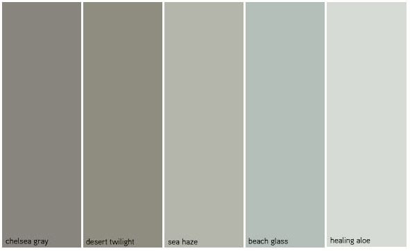 i like chelsea gray, sea haze and healing aloe. maybe a combination of these three through the house with accents of the other two (not crazy about desert twilight but it is a nice griege)