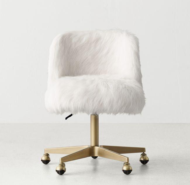 Alessa Kashmir Faux Fur Desk Chair Antiqued Brass White Desk