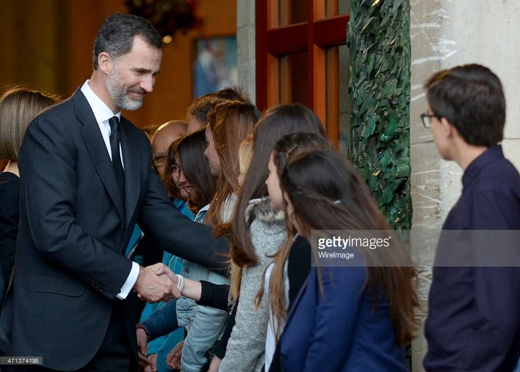 King Felipe VI of Spain is seen greeting students at the funeral services for Germanwings Flight 9525 held at the Sagrada Familia on April 27, 2015 in Barcelona, Spain. Germanwings Flight 9525 crashed in the French alps killing all 150 aboard on March 24, 2015.