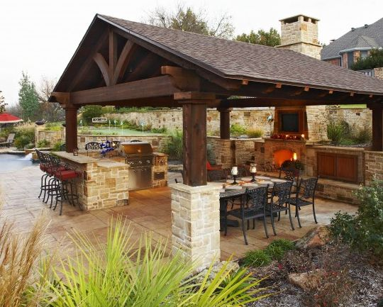 Backyard Pavilion Designs the ceiling of this gazebo is lighted giving the area a soft glow so that Outdoor Kitchen Designs Featuring Pizza Ovens Fireplaces And Other Cool Accessories