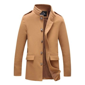 Winter Business Casual Double Collar Thicken Warm Pure Color Wool Overcoat For Men Online - NewChic Mobile.