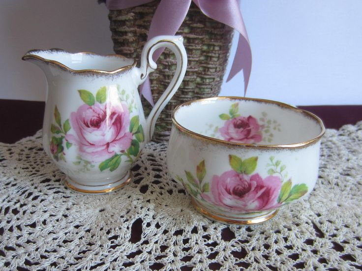 Royal Albert AMERICAN BEAUTY Bone China Mini Creamer with Open Sugar Bowl - Made in England by LauriesFineChina on Etsy