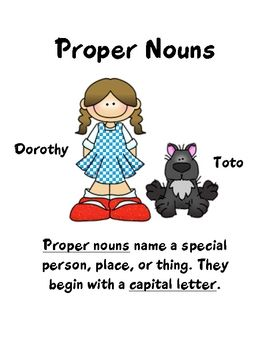 Proper Nouns pack features a proper noun board game, a proper nouns scavenger hunt, and a poster. Features graphics from Thistlegirl DesignsG...