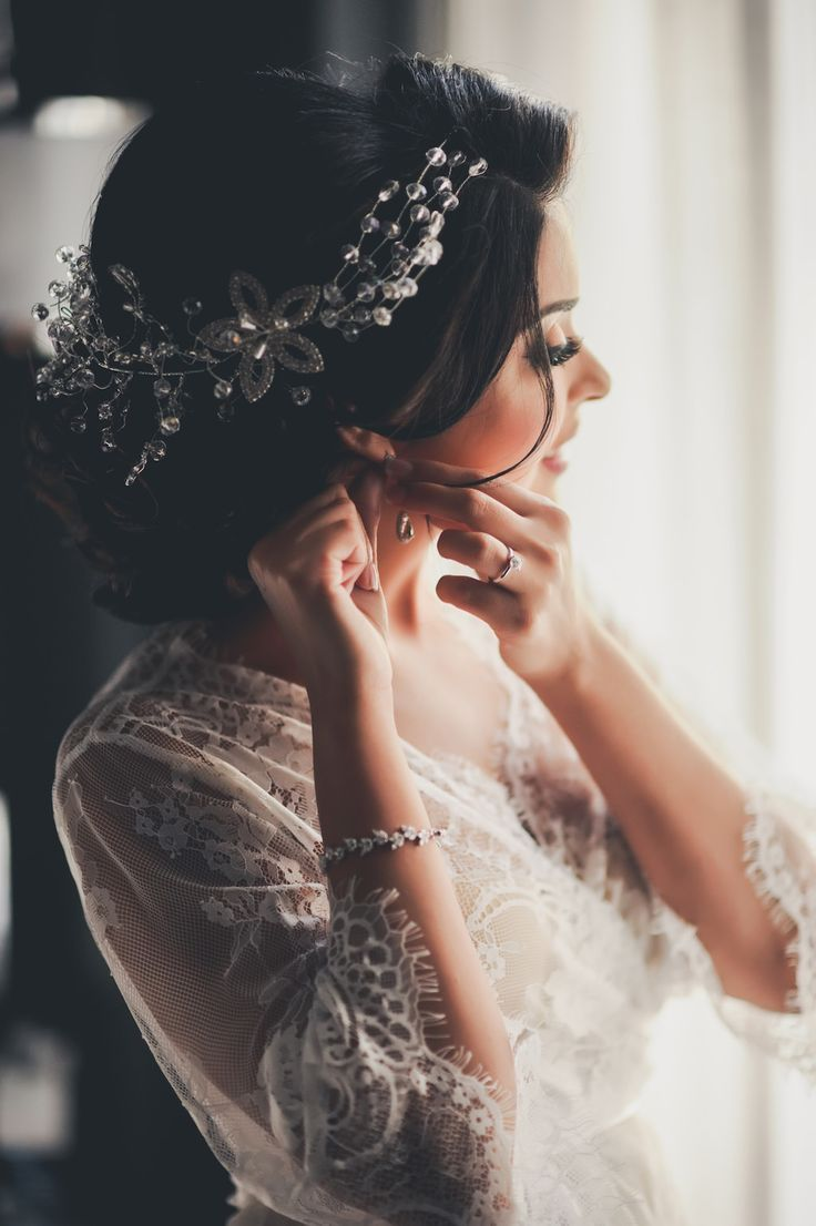Bride Getting Ready Indoor Portrait with Floral Beaded Hair Accessory