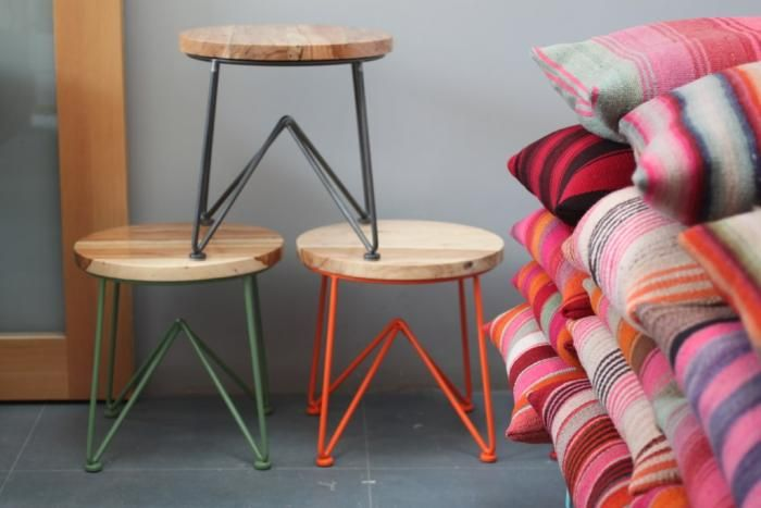 Jamey Garza's wood and steel stacking stools. via @Remodelista