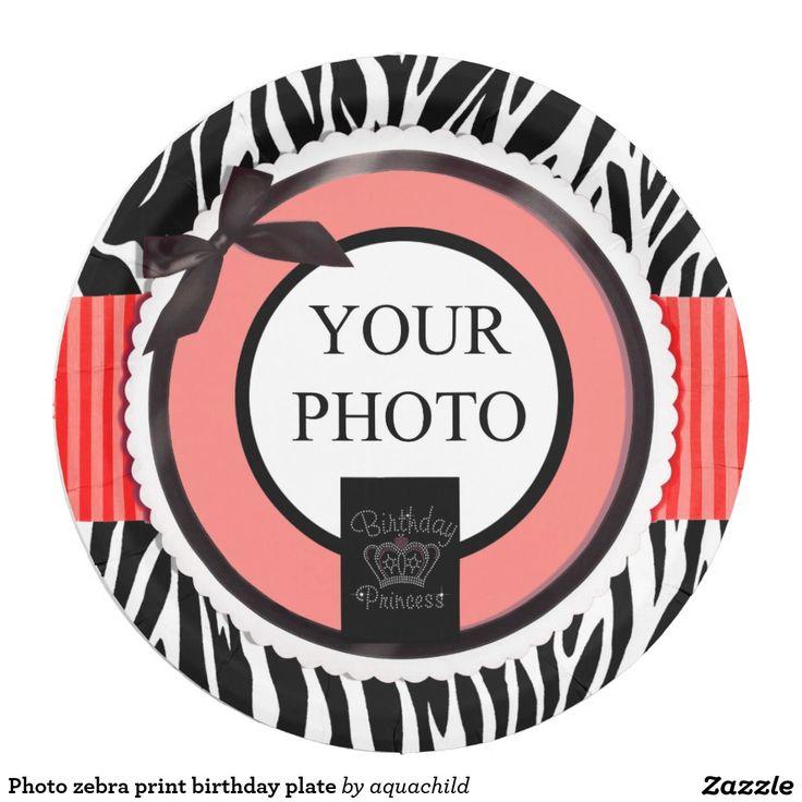 Photo zebra print birthday plate 9 inch paper plate  sc 1 st  Pinterest & 90 best Customized birthday paper plates images on Pinterest ...