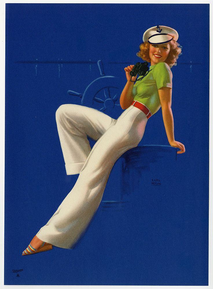 Vintage Earl Moran 1930s Brown & Bigelow Pin-Up Print Streamlined Sailor Girl NR