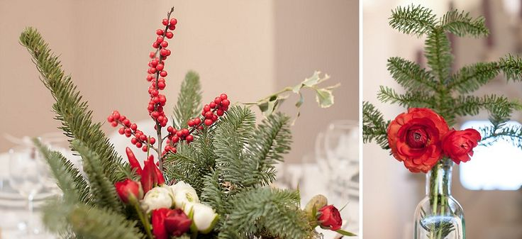 Decorazioni natalizie per un matrimonio invernale, bacche rosse, edera e rami di abete | Christmas decoration for a winter wedding, red berries, ivy and pine branches