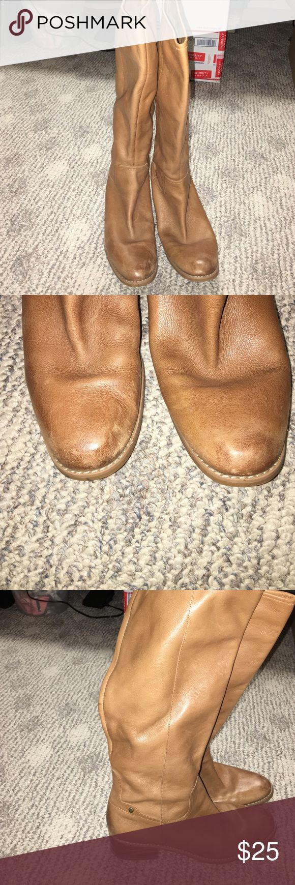 Tan leather boots Nine West tan leather boots. Very soft leather. Toes have a bit of scuffing (see pic).  Worn only a few times. Nine West Shoes Ankle Boots & Booties