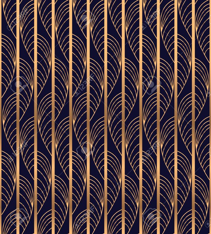 Peacock feather luxury background vector. Gold waves pattern seamless for art deco wedding invitation, vintage wallpaper, beauty spa salon flyer, bridal shower party cards design. Foto de archivo - 88773570