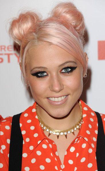 Amelia Lily Hair pink peach bleached bear ears tiny double buns