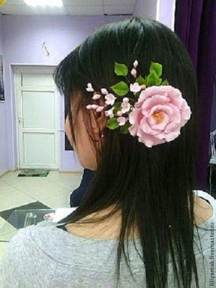 """Купить Зажим для волос """"Tender Spring """" - кремовый, заколка для волос, заколка с цветами, для невесты"""