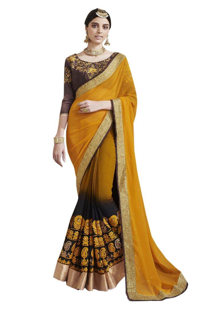 Buy Now Mustard-Brown Embroidery Work Georgette Half-Half Fancy Saree only at Lalgulal.com. To ‪#‎Order‬ :- http://goo.gl/0ayfd8 To Order you Call or ‪#‎Whatsapp‬ us on +91-95121-50402 COD & Free Shipping Available only in India.