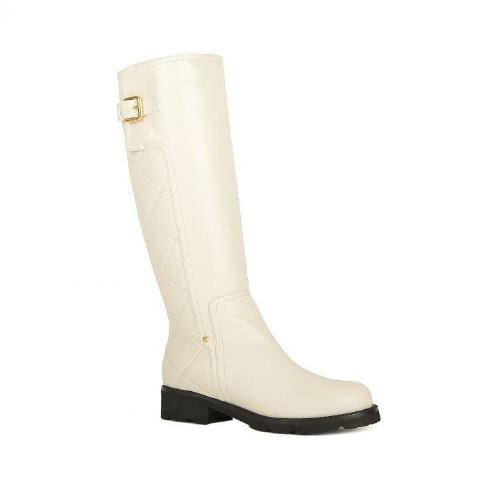 Ballin Белые кожаные сапоги со стеганым голенищем от бренда Ballin