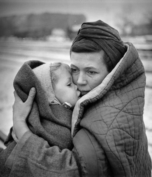 A German mother and her child after walking from Lodz, Poland to Berlin, Germany after the Polish government expelled all Germans from the country, 1945