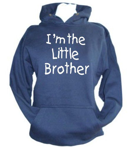 Navy Hoodie 'I'M THE LITTLE BROTHER' with White Print.