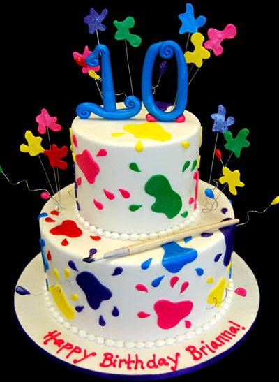 Paint Splattered Tenth Birthday Cake by Pink Cake Box in Denville, NJ.  More photos at http://blog.pinkcakebox.com/paint-splattered-tenth-birthday-cake-2009-12-30.htm  #cakes