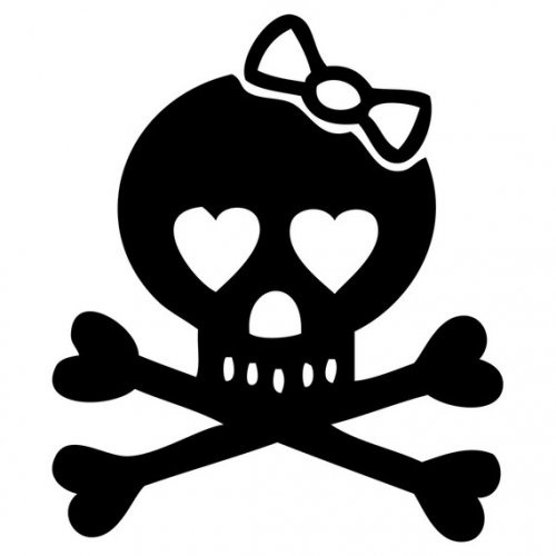 Image detail for -Girly Skull and Crossbones with bow decal 1 - macbook friendly ...