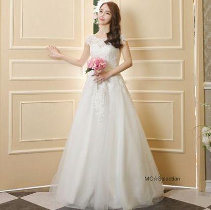 ウェディングドレス フラワーレースフレンチスリーブ☆Aライン☆ウエディングドレス(3)
