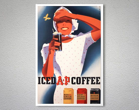 Check out this item in my Etsy shop https://www.etsy.com/listing/537307075/iced-a-p-coffee-vintage-fooddrink-poster