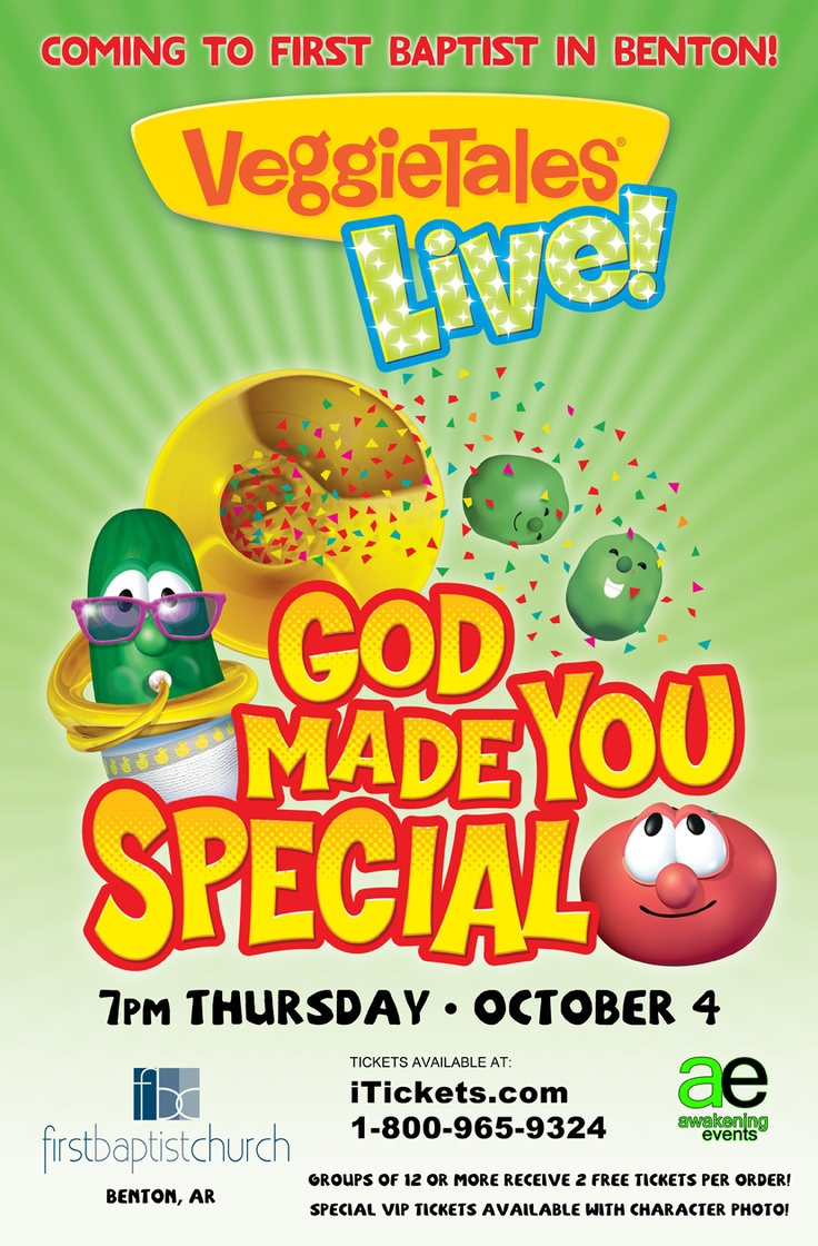 """VeggieTales Live is coming to FBC Thursday October 4th! A ticket pre-sale for FBC members & guests will run from Friday July 20th through Sunday July 22nd via itickets.com. Use the password """"VEGGIE"""" to get your tickets during the pre-sale! http://www.itickets.com/events/290008/Benton_AR/VeggieTales.htmlInspiration, Veggietales Living, Faith, Events Ticket, Veggies Tales, Special, Bible Class, God Made You, Living God"""