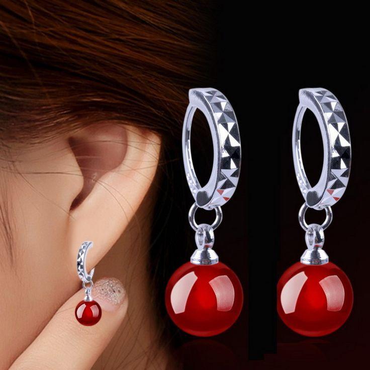 Корейский новинка красный черный природного каменные шары ювелирные изделия серьги-кольца для женщин E0311