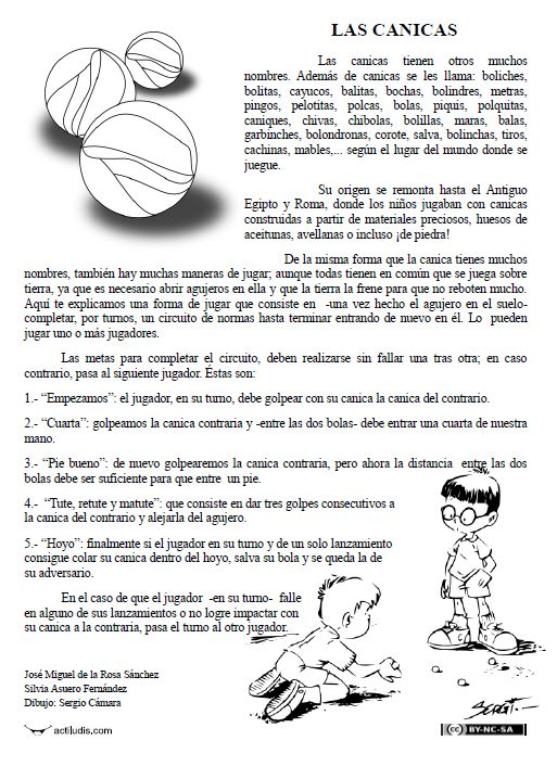 las canicas - comprensión lectora. Use during Realidades 2 childhood activities chapter.